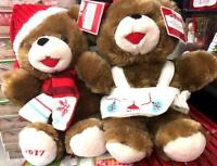 "2 WalMART CHRISTMAS Snowflake 2017 TEDDY BEAR Brown Boy&GirL 13"" Red Outfit New"