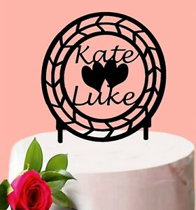 Personalised Acrylic Engagement Cake Topper Custom Name Wedding Decoration