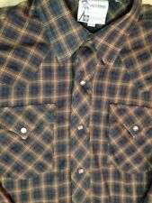 DR Westerns, mens, western shirt, size 16-34, PEARL SNAPS, brown plaid, l/s