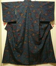Woman, Japanese kimono, Komon, Silk, Tsumugi, Flowers, Navy Blue