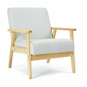 Upholstered Timber  Fabric Dining Chair Kitchen Wooden Modern Cafe Chairs AU,