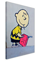 BANKSY PICTURES CHARLIE BROWN WITH CIGARETTE FRAMED CANVAS PRINT WALL ART POSTER