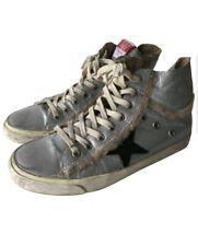Golden Goose Silver Metalic Shearling Francy Fur High-Top Sneaker 38 7.5 8