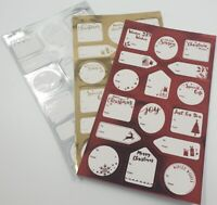Foil Gold / Silver / Red Labels Christmas STICKER Gift Tags Name Xmas Present