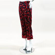 Pia Mita NWOT Red Blue & Black Silk Blend Ruffled Bow Print Pandora Pants SZ XS