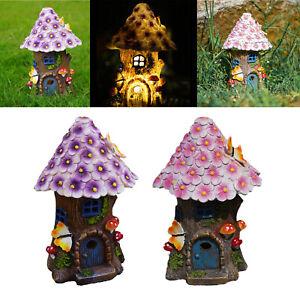 Solar Powered Light House Statue Home Outdoor Fairy Garden Lawn Decor Kit