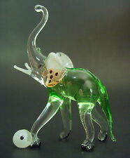 Glass ELEPHANT, Tinted Green Glass Circus Animal, Blown Glass Ornament, Figure