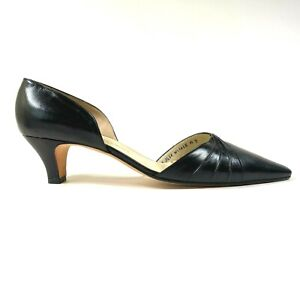 NEW Silvia Fiorentina Black Leather D'Orsay Heels Pumps Slip On Knot Accents 9 M