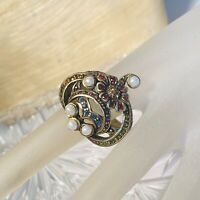 Heidi Daus Cocktail Ring Pave Crystal Flower Pearl Size11 Ruby Sapphire