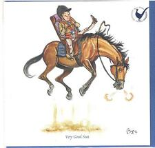 """Bryn Parry """"Very Good Seat"""" Horse riding Greeting Card & envelope - blank inside"""