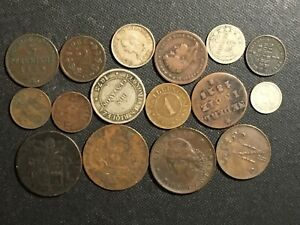 16 PC WORLD COPPER COIN LOT; CHILE,COLUMBIA,DENMARK,NORWAY,AZORES,MORE;1825-1899