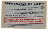 CARTA ASSORBENTE pubblicitaria RIUNIONE ADRIATICA DI SICURTA' - TRIESTE anni '20