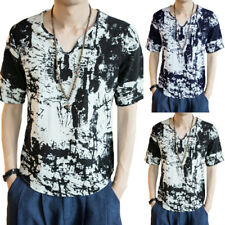 Men's Casual Ethnic Chinese Style V Neck T Shirts Shirts Floral Short Sleeve Top