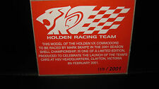 BIANTE 1/18 COA CERTIFICATE OF AUTHENTICITY 2001 SKAIFE VX COMMODORE TEAM LAUNCH