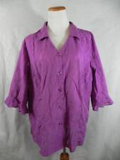 MAGGIE BARNES Plus 1X PURPLE Burnout Blouse Shirt 3/4 Sleeve (18/20) Orchid  f24