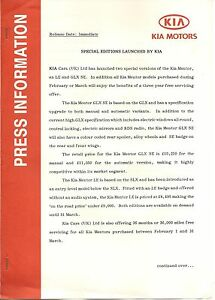 KIA MENTOR PRESS RELEASE 1995  @@ PRICE CUT @@*POST FREE UK *