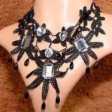 Punte Collare Nero Gotico Collier collare Victorian Collana Stella Fiore C18S