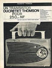 PUBLICITE ADVERTISING  1960   DUCRETET-THOMSON   transistor