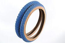PAIR RALEIGH BURNER/OLD SCHOOL BMX 20 x 2.125 BLUE AMBERWALL COMP III TYPE TYRES