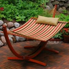 Algoma Net 12 Foot Wooden Arc Frame w/Quilted Hammock & Matching Pillow Hammock