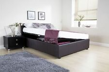 4ft Small Double Side Lift Ottoman Storage Bed - 3 Colours & Optional Mattress Brown No Mattress