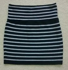 Akira Chicago Black and White Striped Thick Stretchy Skirt M