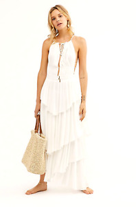 Free People Endless Summer Drop Dead Beauty Crinkly Ivory Summer Maxi Dress