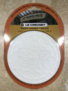 "Set of 4 ""White"" LE CREUSET 4"" Round French Trivet Coasters Potholder Hot Pad"