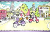 CIAO BELLA Scooter Girls Travel Italy City Scene Girl's Room Wallpaper Border