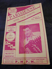Partition Parisienne Jo Privat Géo Marot 1953 Music Sheet