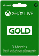 3 Month Xbox Live Gold Membership - Microsoft Xbox 360 One Subscription - US/CA