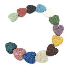 19 Pcs Heart Flat Black Lava Rock Stone Beads For Jewelry Making 14 colors