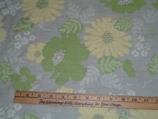 Vtg 70s Daisy Flowers Yellow Lime Green Semi Sheer Beach Sew Fabric 1Ydx44 #ff90