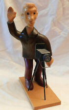 Romer Wood Carved Photographer Figurine  with View Camera Made in Italy