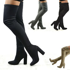 Womens Thigh High Heel Stretch Leg Zip Ladies Over The Knee Long Boots Size 3-8