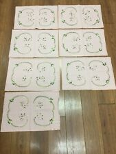 "Vintage Placemats Set Of 7 Pink Blush Green Embroidered Flowers 18"" X 12"" Nice!"