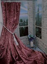 "NEW! Huge Heavy Weight Mulberry Crushed Velvet 113""D 76""W Lined Bay Curtains"