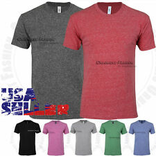 Mens Tri Blend T Shirts Crew Neck Short Sleeve Soft Plain Solid Slim Fit Tee Top
