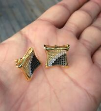 Men's 18K Gold Finish 0.5ct. Lab Diamond Micro Pave Set Screw Back Stud Earrings
