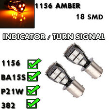 *2 X 1156 18SMD LED XENON TURN SIGNAL INDICATOR BULBS P21W 382 BA15S AMBER
