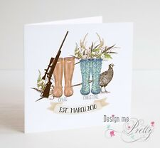 Hunting Wellies Anniversary or Wedding Card - Personalised - Country Life
