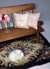Lot of 2 - Pillows Doll House 1 :12 Scale -Soft Pink and Lace 1 1/2 ""
