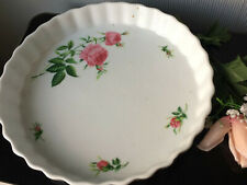 CHRISTINEHOLM Tart Pie Quiche Ceramic Baking Dish Pan White Fluted Pink Roses