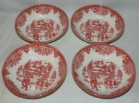 Royal Stafford Christmas Village Ice Skating Red Soup/Salad Bowls Set of 4 NWT