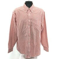 Brooks Brothers Shirt Mens L Large Pink Orange Gingham Long Sleeve Button Up
