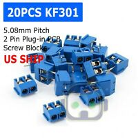 20PCS KF301-2P 2 Pin Plug-in Screw Terminal Block Connector 5.08mm Blue