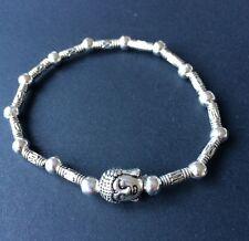 Tibetan Silver Beaded Stretch Bracelet With Buddha Charm