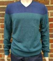 Men`s Denver Hayes V-Neck Merino Wool Blend Jumper Size Medium Blue&Green