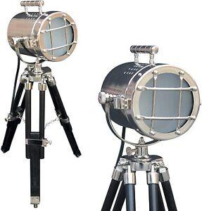 Tripod Style Vintage Model Searchlight Wood Tripod Lamps LED Spotlights