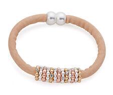 Tan / Beige Nubuck Leather Bracelet Three Tone Rose Gold Silver Diamante  Charms